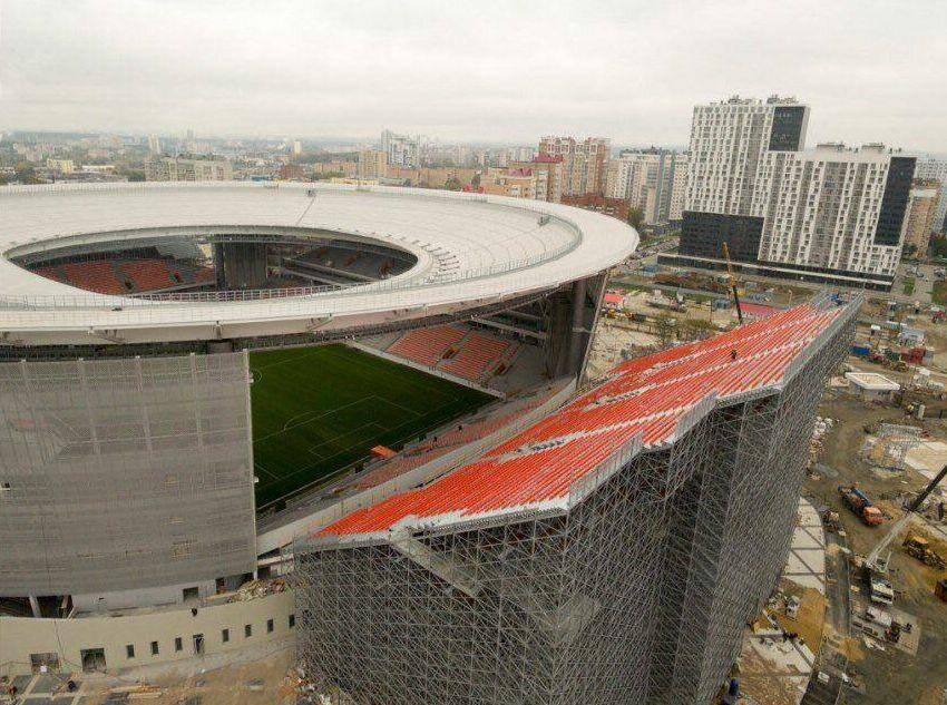 Widok na trybuny stadionu w Jekaterynburgu