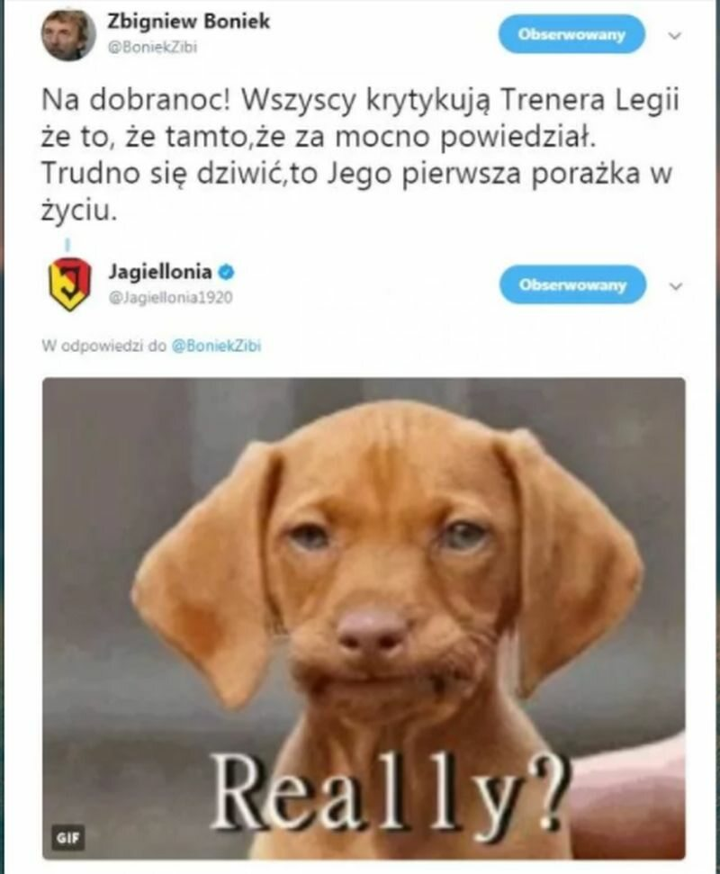 Wpadki nie ustrzegł się też Zbigniew Boniek Prezes PZPN zapomniał, że Legia przegrała już pod wodzą nowego trenera z Jagiellonią Białystok 24 września.