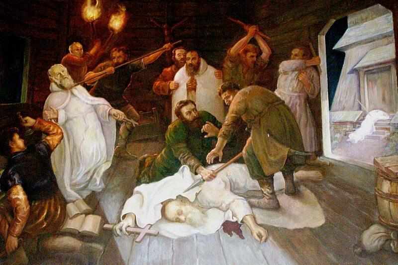 Śmierć Benedykta, Jana, Mateusza, Izaaka i Krystyna - pierwszych męczenników Polski. W 1003 r. zostali zamordowanie w napadzie rabunkowym