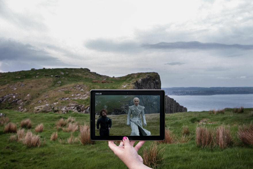 """Kadr z """"Gry o tron"""" w zestawieniu z miejscem, gdzie nagrywano serial"""