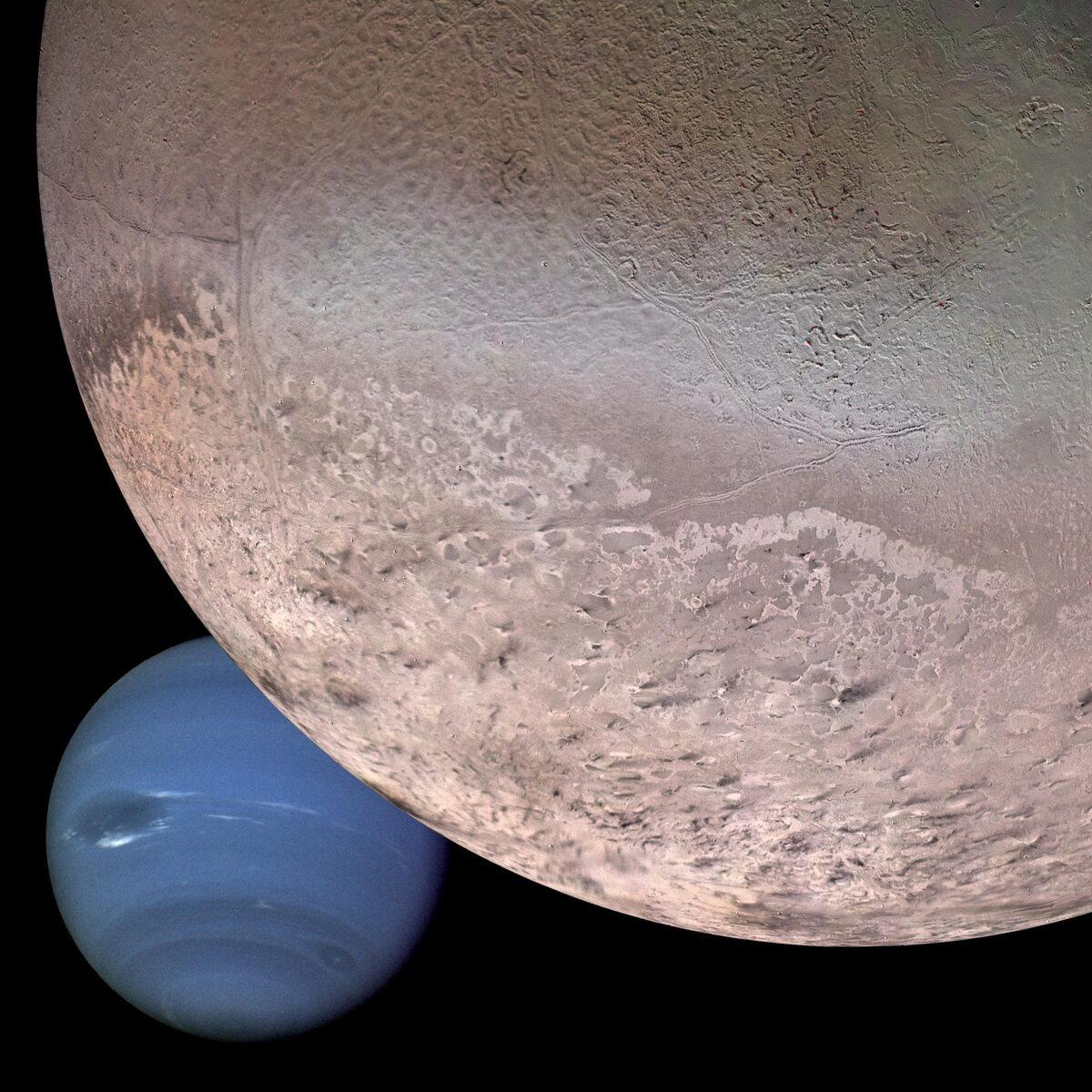 Fotomontaż pokazujący Neptuna i Trytona
