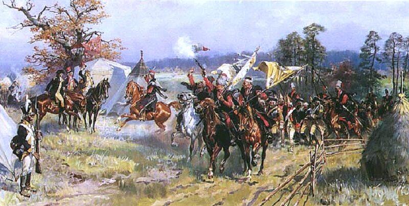 Po bitwie pod Zieleńcami, Kościuszko z ks. Józefem odbierają defiladę wojsk polskich z jeńcami, obraz Wojciecha Kossaka