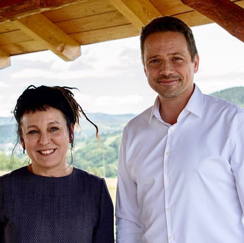 Olga Tokarczuk i Rafał Trzaskowski