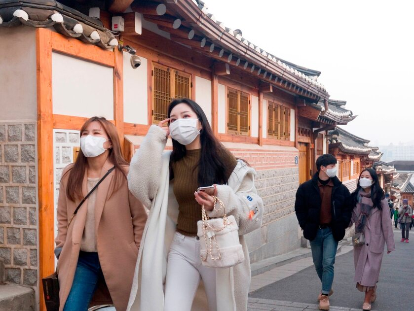 Ludzie na ulicach Seulu